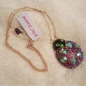 Betsey Johnson Fruity Petals pink ladybug necklace